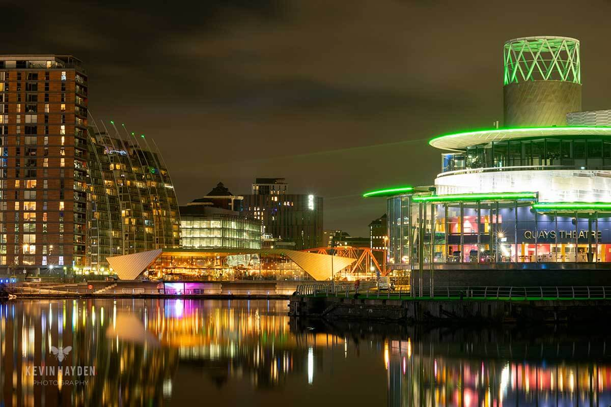 The Lowry Theatre, Salford Quays, Salford at night. Photo by Kevin Hayden.