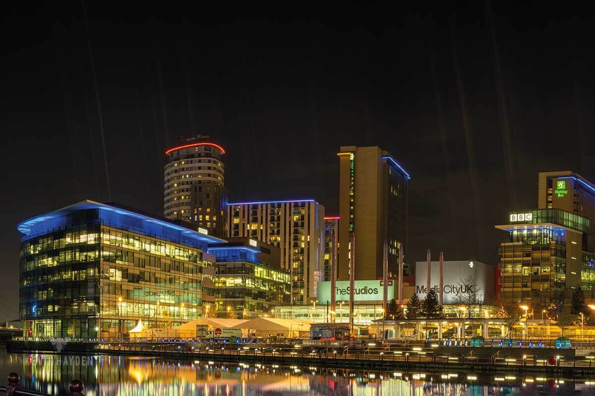 Panorama of Media City, Salford Quays, Salford at night. Photo by Kevin Hayden.