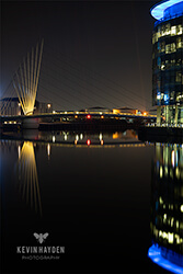 Media City bridge, Salford Quays, Salford at night. Photo by Kevin Hayden.